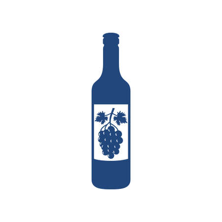 wine bottle with a bunch grape image on its label vector design illustration template