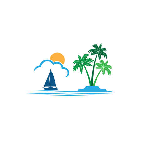 sailing boat in the horizon of sun and ocean with coconut tree summer theme vector logo design template Illusztráció