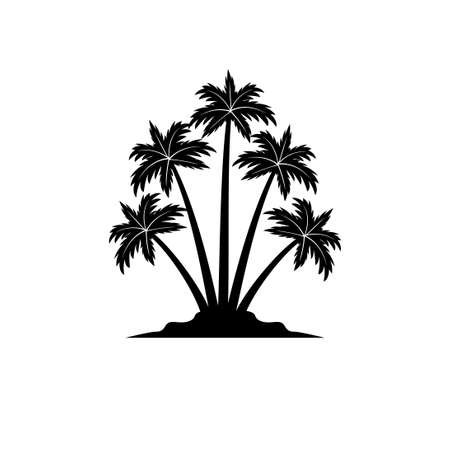 island with coconut tree silhouette vector logo design template