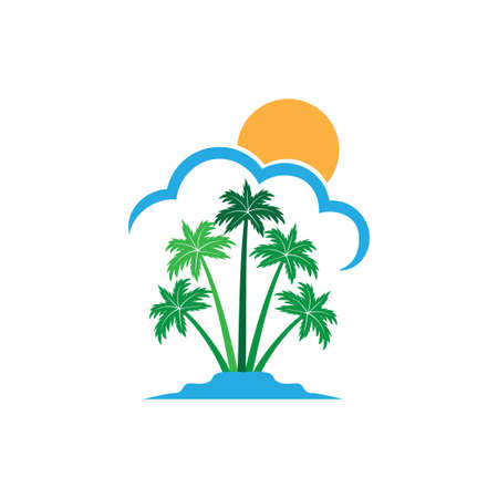 green coconut tree island with sun behind the cloud summer theme vector logo design template