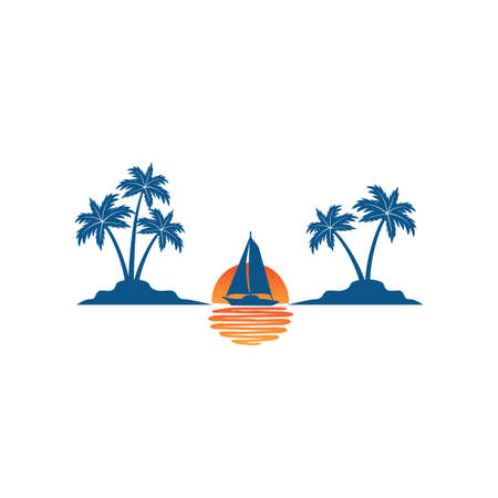 sailing boat in the horizon of sun and ocean between two coconut tree island summer theme vector logo design template Stock Illustratie