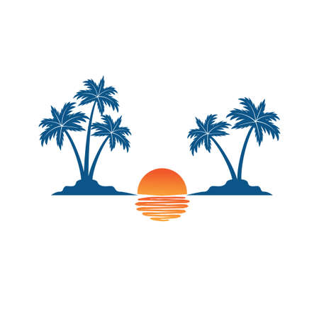 beautiful sunset between two coconut tree island with the shadow on the sea summer beach theme vector logo design template