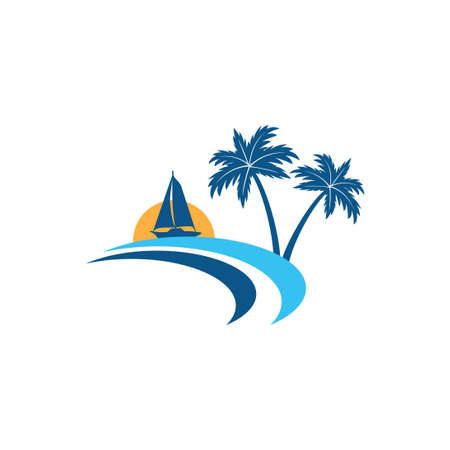 sailing boat in the horizon of sun and ocean with coconut tree summer theme vector logo design template Stock Illustratie