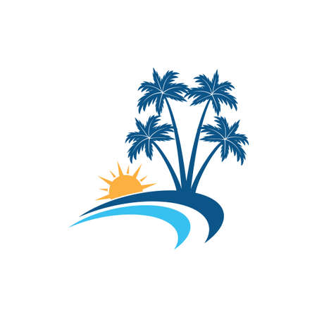 sunrise in the shore line beach with coconut tree vector logo design template
