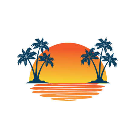 orange yellow sunset between two coconut tree island with shadow on the sea vector logo design template