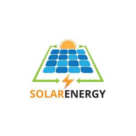 Plantilla de diseño de logotipo de vector de energía renovable de electricidad de panel solar con presentación de proceso de conversión Logos