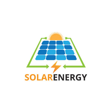 solar panel electricity renewable energy vector logo design template with converting process presentation Illustration