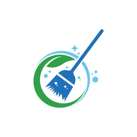 home apartment cleaning and washing service vector logo design template