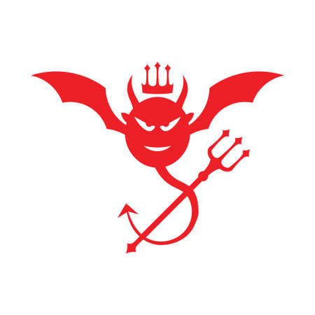 red angry devil head with bat wing and trident fork vector logo design template