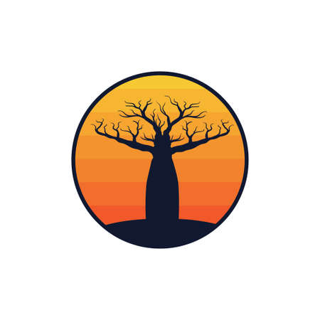 baobab african typical desert tree in the afternoon yellow sun ray vector logo design template Иллюстрация
