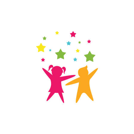 dancing kids and children happy dancing vector logo design template