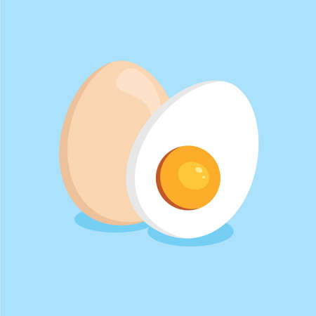 boiled egg cut in half vector logo design illustration template
