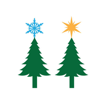 green simple pine tree with star and snowflake on the top vector christmas theme for print template Иллюстрация