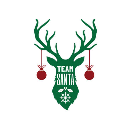 team santa funny greeting text on deer silhouette vector christmas theme for print template