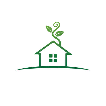 green house home real estate property with sprout plant growing sale market vector logo design template