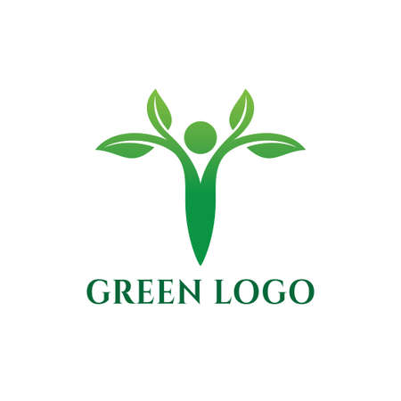 healthy green food nutrition for beauty and herb medicine vector logo design template Иллюстрация