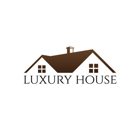luxury modern roof top house home real estate property with chimney sale market vector logo design template