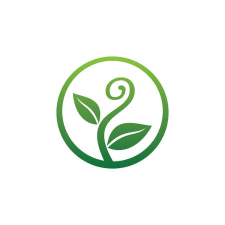 growing sprout plant with curly shape for green agriculture botany and biology science research vector logo design template