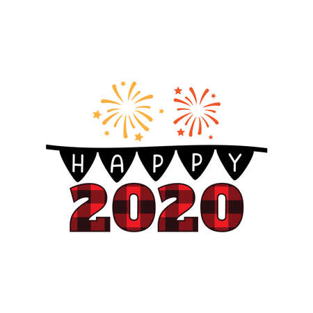 happy new year 2020 with firework and flag theme vector banner design template