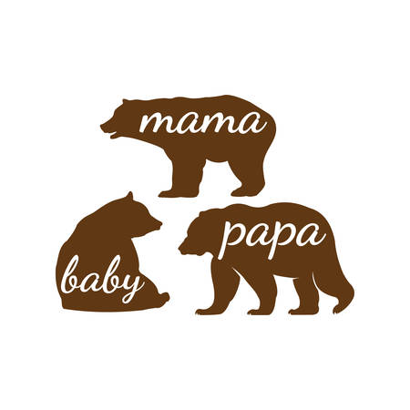 bear family papa mama and baby vector graphic design for cutting machine craft and print template