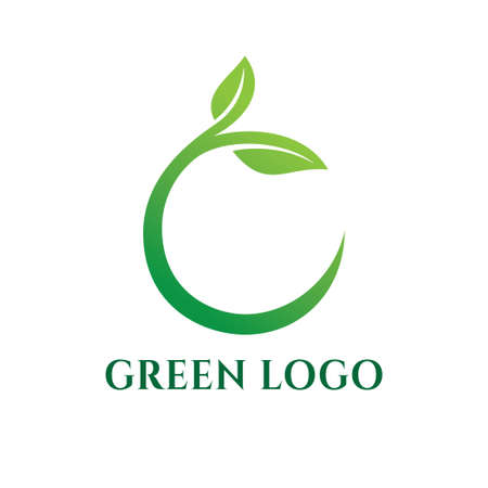 organic green leaf for agriculture botanical science vector logo design template