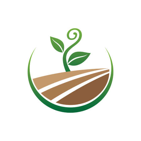 growing sprout plant with curly shape in the field for green agriculture botany and biology science research vector logo design template