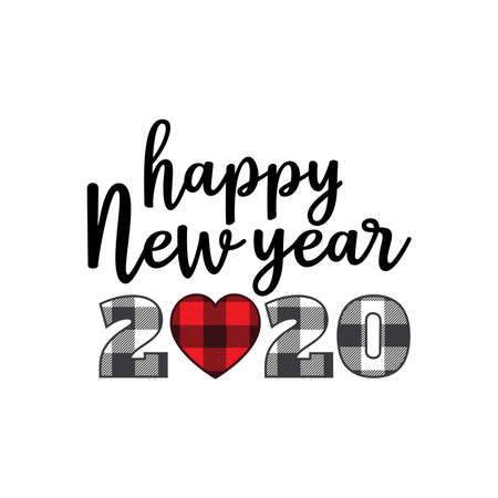 happy new year 2020 theme with unique heart zero vector banner design template Иллюстрация