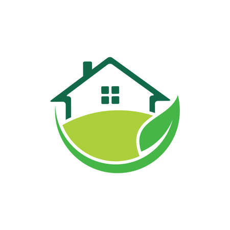 green nature friendly house home real estate property sale market vector logo design template