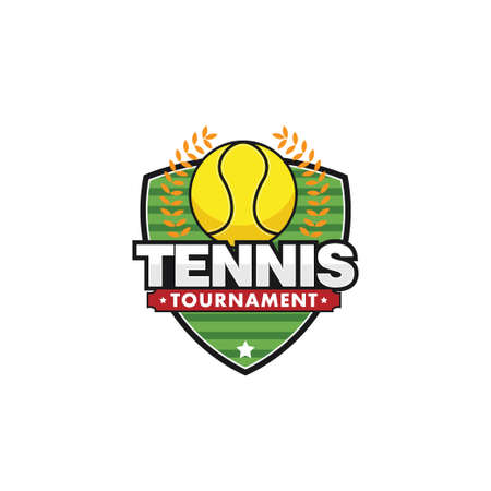 tennis sport emblem for squad club badge vector logo design template