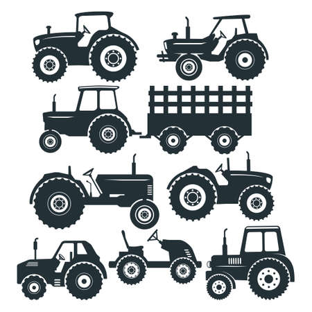 farm tractor simple, easy, and high quality detail for paper craft, cutting machine and printable vector file design template Vector Illustratie