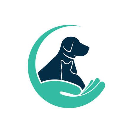 pet veterinarian clinic and treatment vector logo design template