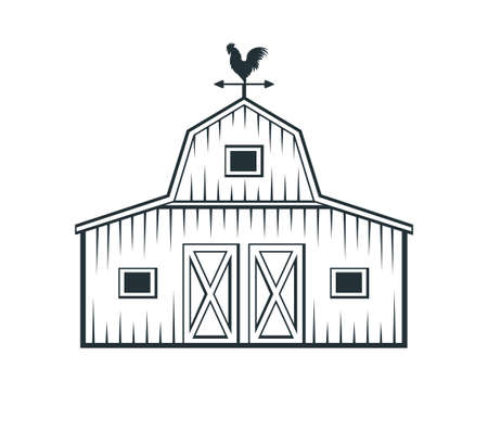 cortile, fienile, fattoria, capannone, deposito, vettore, logotipo, disegno, template Logo