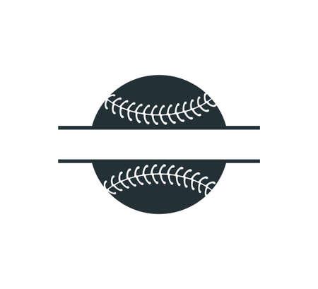 baseball softball stuff split badge name vector logo graphic design template