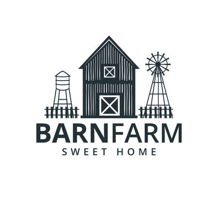 backyard barn farm house storage hangar with fence windmill and water torrent tower vector logo design template