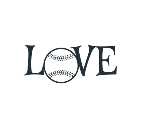 baseball softball love text vector logo graphic design template