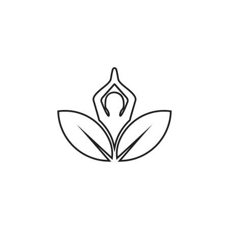 lotus yoga exercise vector logo design template