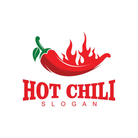 flaming red hot chili vector logo design concept template