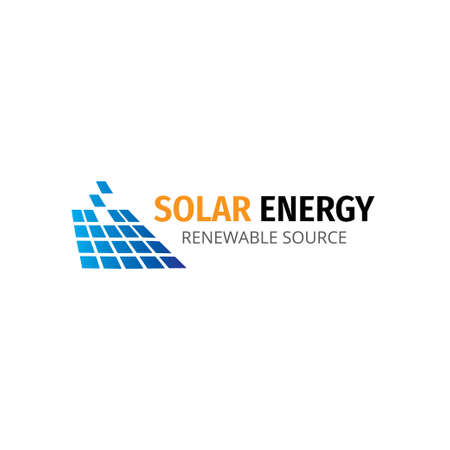 solar panel vector logo design template for renewable electricity energy source company and research