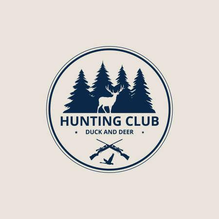 outdoor deer an duck hunting sport vector logo design template