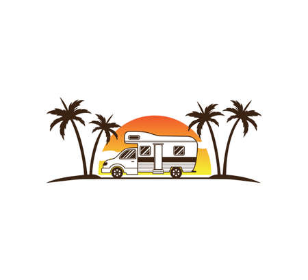 camping car and trailer standing in sunset beach with the palm trees for summer holiday camping vector logo design template Stock Illustratie
