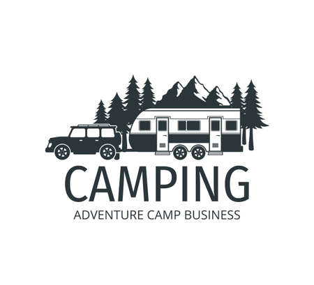 camping car trailer in the middle of jungle of pine trees for outdoor camp adventure vector logo design template