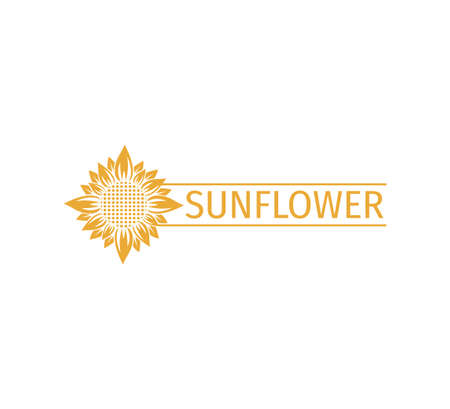sunflower vector logo design concept template with space bar for text writing