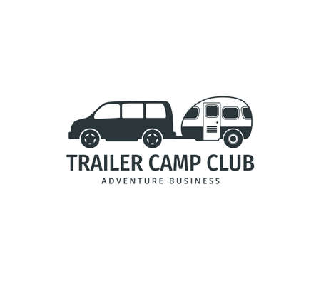 car towing a camping trailer for road trip camp adventure vector logo design template Illustration