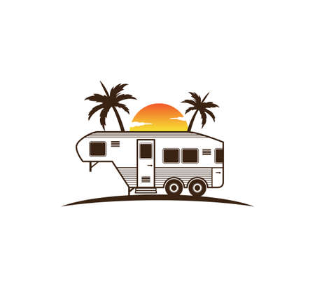 camp trailer standing in front of sunset and palm tree silhouette for beach holiday camping adventure logo design template