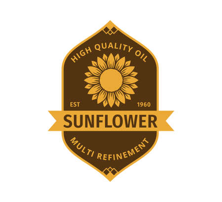 sunflower oil product label vector logo design template concept in yellow and brown color