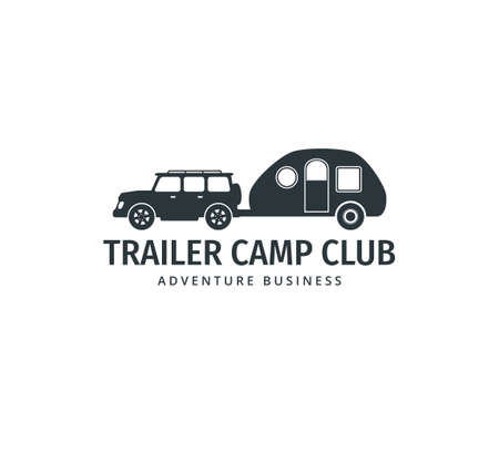 car towing a camping trailer for road trip camp adventure vector logo design template