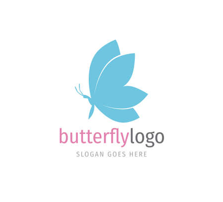 simple blue beautiful butterfly vector logo design template open wings from side view
