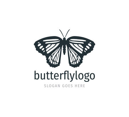 beautiful butterfly vector logo design template with majestic detail feature on the open wings top view