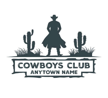 cowboy standing in the middle of cactus field vector graphic design template Vetores