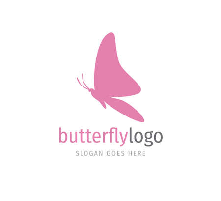 simple pink beautiful butterfly vector logo design template open wings from side view